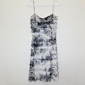 Tadashi Black White Print Ruffle Sleeveless Dress